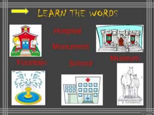 A church A market A school A post office A monument A museum A square A brid