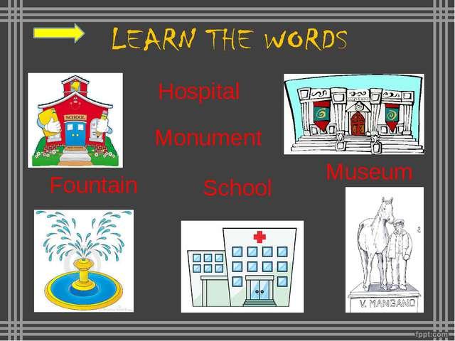 A church A market A school A post office A monument A museum A square A brid...