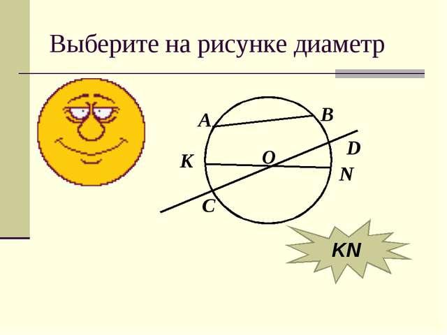 Выберите на рисунке диаметр А В К N O D C KN