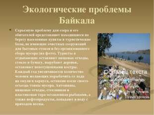 Экологические проблемы Байкала Серьезную проблему для озера и его обитателей