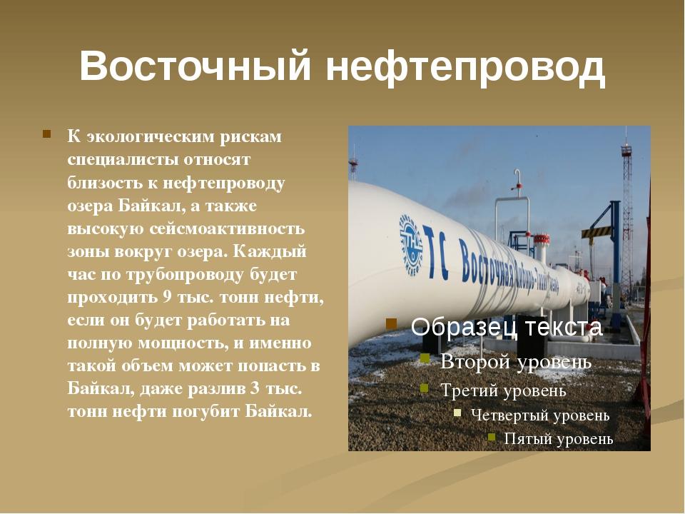 Восточный нефтепровод К экологическим рискам специалисты относят близость к н...