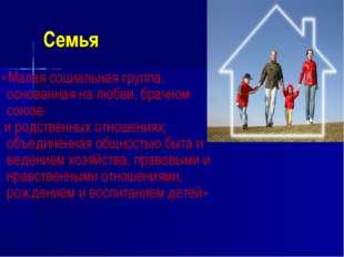 Семья «Малая социальная группа, основанная на любви, брачном союзе и родствен