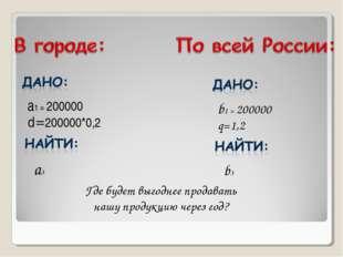 а1 = 200000 d=200000*0,2 a3 b1 = 200000 q=1,2 b3 Где будет выгоднее продавать