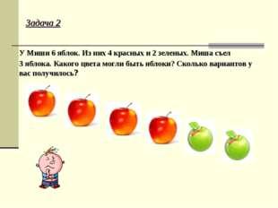 Задача 2 У Миши 6 яблок. Из них 4 красных и 2 зеленых. Миша съел 3 яблока. Ка