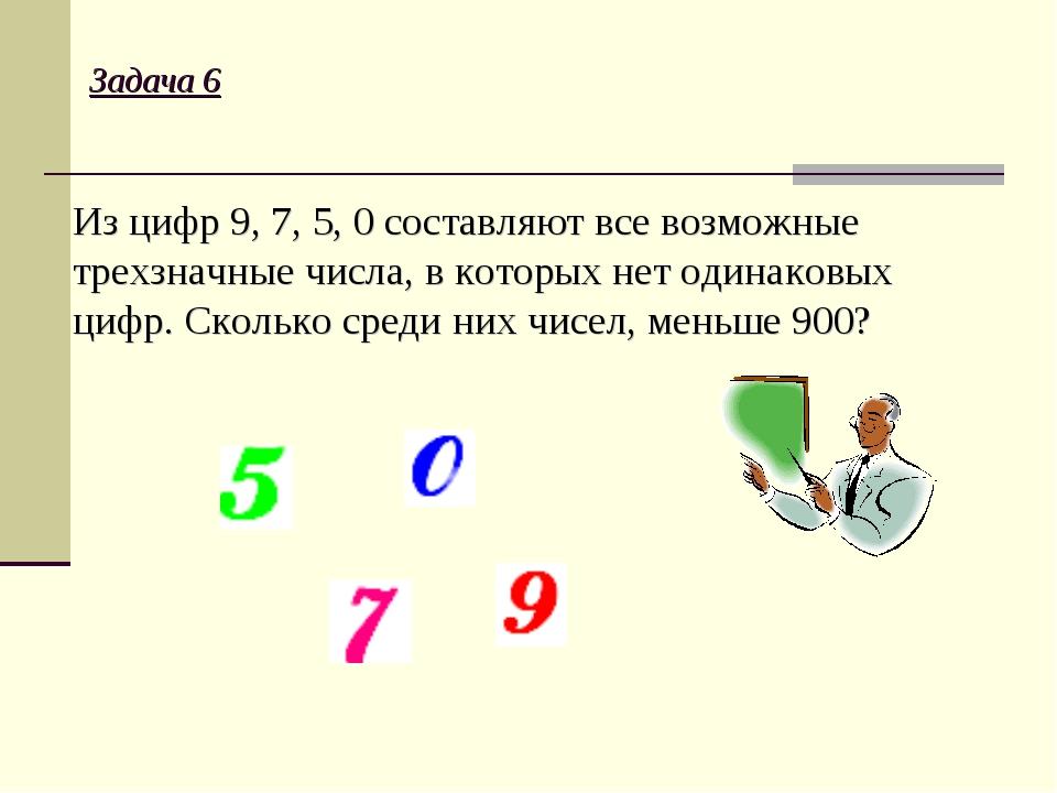 Задача 6 Из цифр 9, 7, 5, 0 составляют все возможные трехзначные числа, в кот...