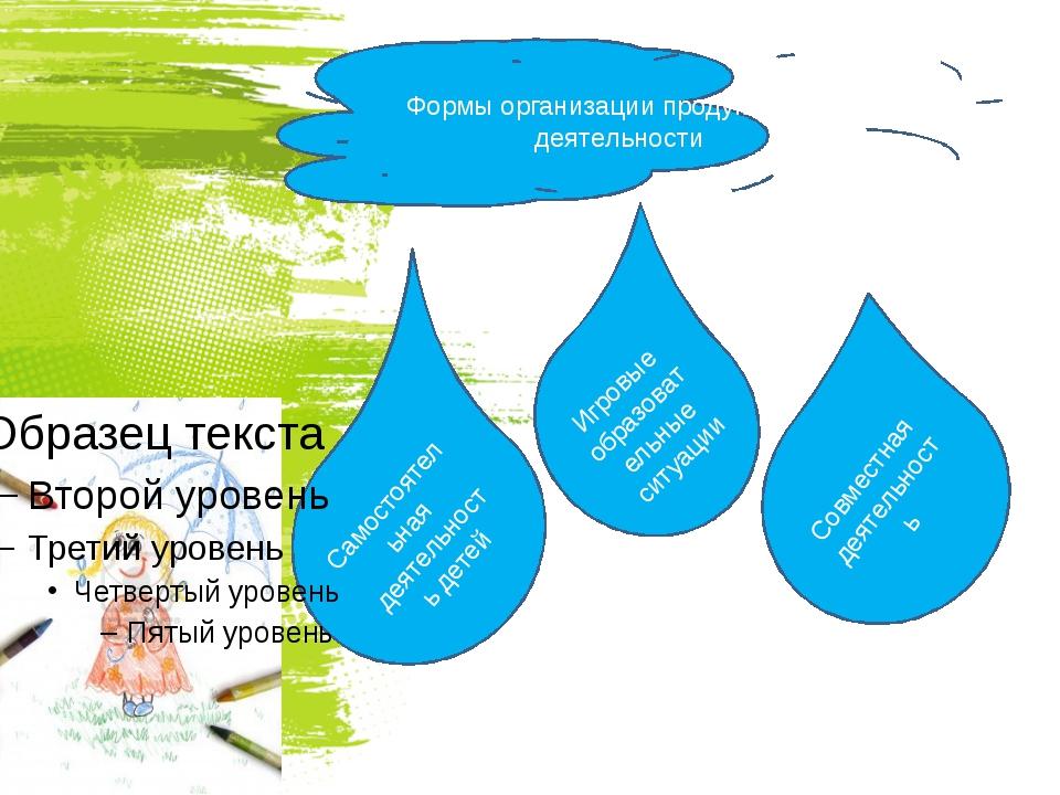 Совместная деятельность Формы организации продуктивной деятельности Игровые...