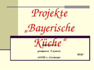 """Projekte """"Bayerische Küche"""" Выполнили: учащиеся 9 класса МОУ «ООШ с. Солянка»"""