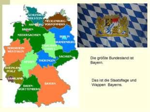 Die größte Bundesland ist Bayern. Das ist die Staatsflage und Wappen Bayerns.