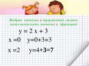 Выбрав значение х (аргумента), можно легко вычислить значение y (функции) у =