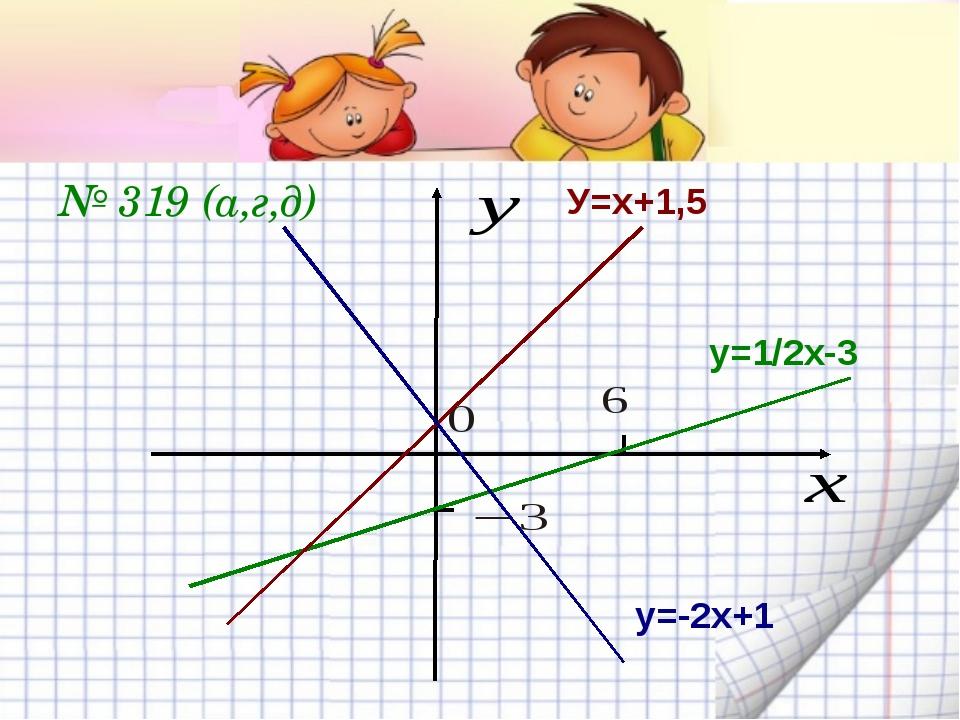 № 319 (а,г,д) у=1/2х-3 У=х+1,5 у=-2х+1