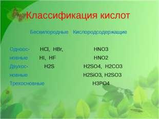 Классификация кислот Бескилородные Кислородсодержащие Одноос- HCl, НBr, HNO3