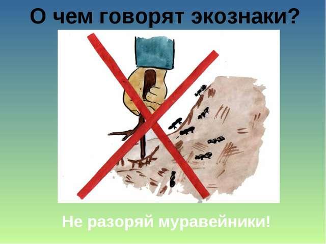 О чем говорят экознаки? Не разоряй муравейники!