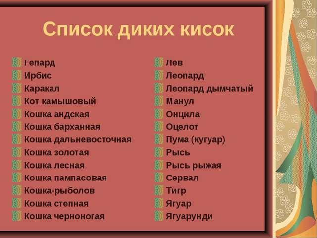Список диких кисок Гепард Ирбис Каракал Кот камышовый Кошка андская Кошка ба...
