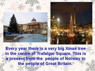 Every year there is a very big Xmas tree in the centre of Trafalgar Square. T