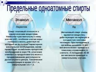 Этанол Метанол Наркотик Яд Метиловый спирт очень ядовитое вещество, действующ