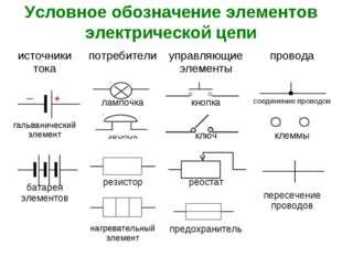 Условное обозначение элементов электрической цепи источники токапотребители