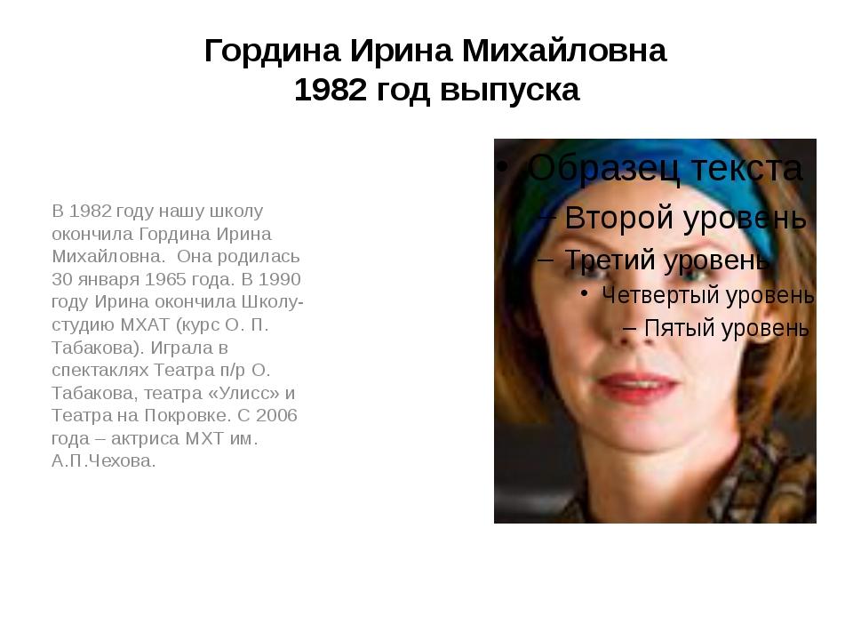 Гордина Ирина Михайловна 1982 год выпуска В 1982 году нашу школу окончила Гор...