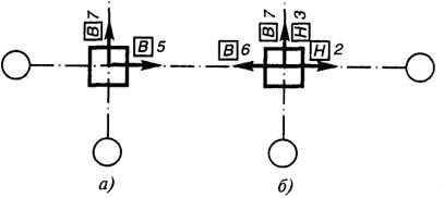 Описание: Рис. 29.2. Примеры указания действительных отклонений осей элементов от разбивочных осей на плане: а - сваи; б - колонны