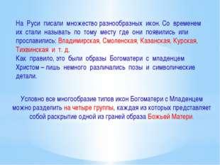 На Руси писали множество разнообразных икон. Со временем их стали называть по