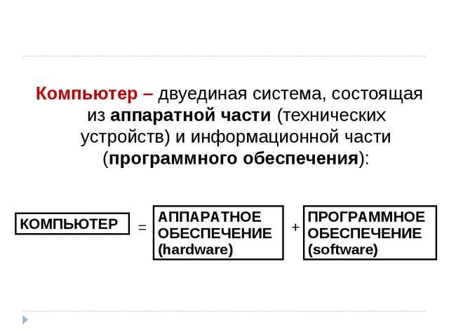 Компьютер – двуединая система, состоящая из аппаратной части (технических уст...