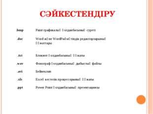 СӘЙКЕСТЕНДІРУ  .bmpPaint графикалық қолданбасының суреті .docWord және Wor