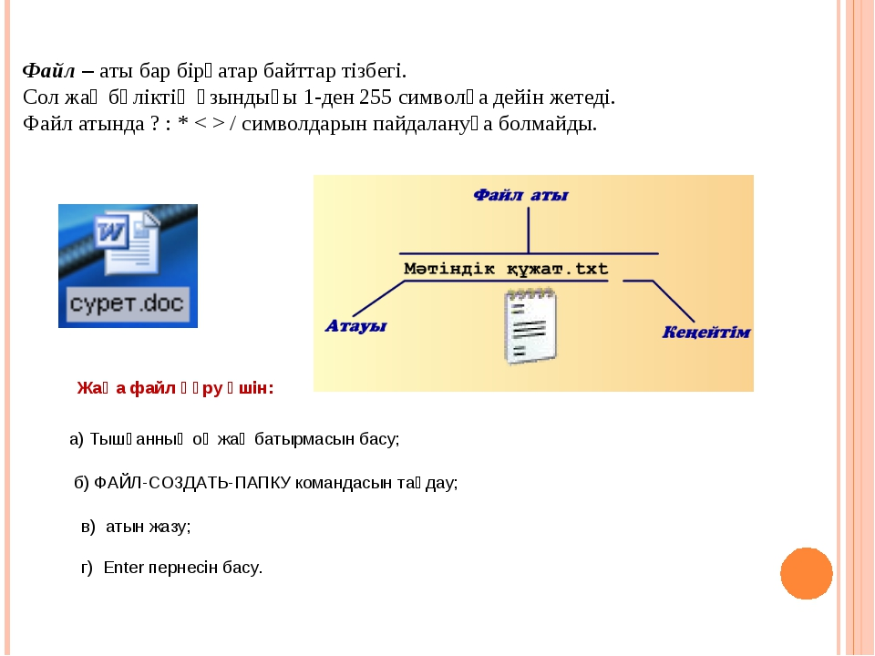 Файл – аты бар бірқатар байттар тізбегі. Сол жақ бөліктің ұзындығы 1-ден 255...