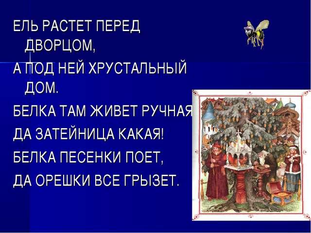 ЕЛЬ РАСТЕТ ПЕРЕД ДВОРЦОМ, А ПОД НЕЙ ХРУСТАЛЬНЫЙ ДОМ. БЕЛКА ТАМ ЖИВЕТ РУЧНАЯ,...
