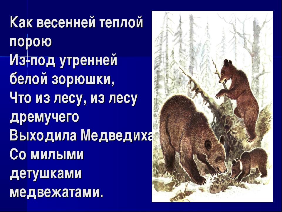 Как весенней теплой порою Из-под утренней белой зорюшки, Что из лесу, из лесу...