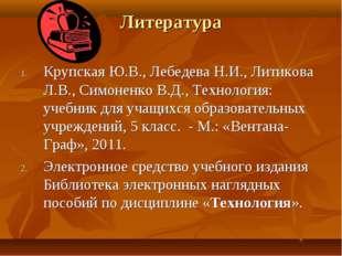 Литература Крупская Ю.В., Лебедева Н.И., Литикова Л.В., Симоненко В.Д., Техно