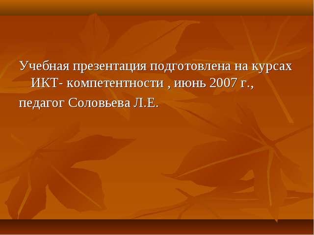 Учебная презентация подготовлена на курсах ИКТ- компетентности , июнь 2007 г....