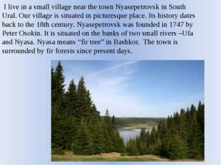 I live in a small village near the town Nyasepetrovsk in South Ural. Our vil