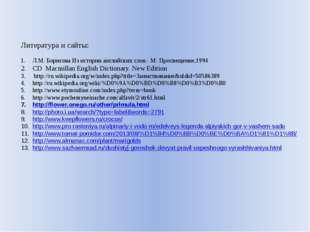 Литература и сайты: Л.М. Борисова Из истории английских слов.- М: Просвещение