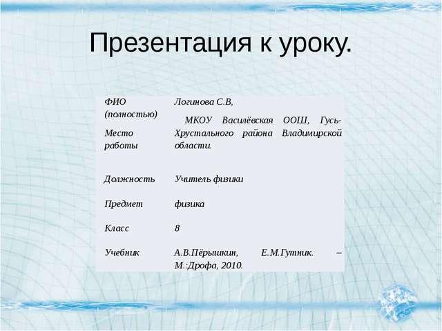 Презентация к уроку. ФИО (полностью) Место работы Логинова С.В, МКОУ Василёвс...