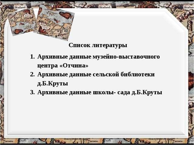 Список литературы Архивные данные музейно-выставочного центра «Отчина» Архивн...