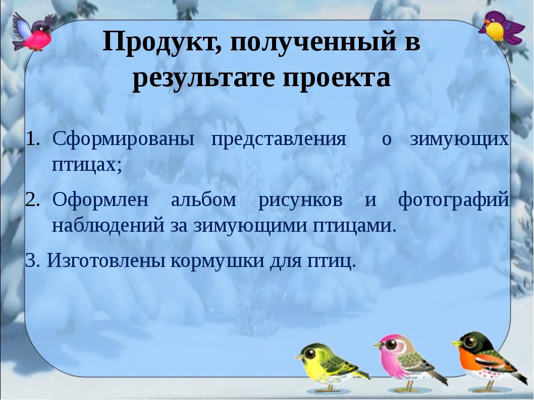 Сформированы представления о зимующих птицах; Оформлен альбом рисунков и фо...