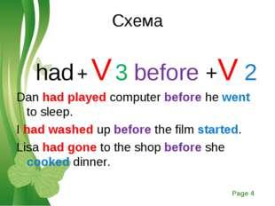 Схема had + V 3 before +V 2 Dan had played computer before he went to sleep.
