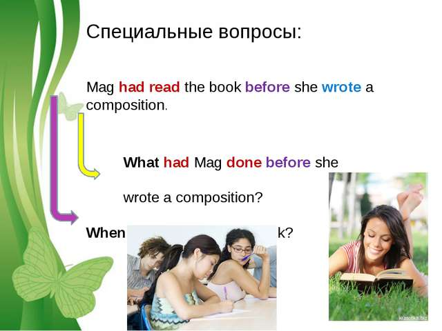 Специальные вопросы: Mag had read the book before she wrote a composition. Wh...