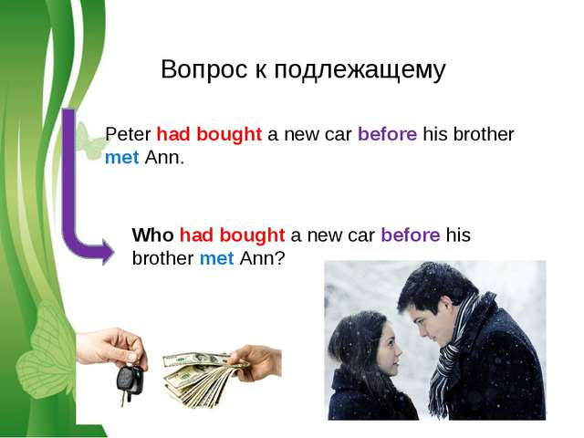 Вопрос к подлежащему Peter had bought a new car before his brother met Ann. W...
