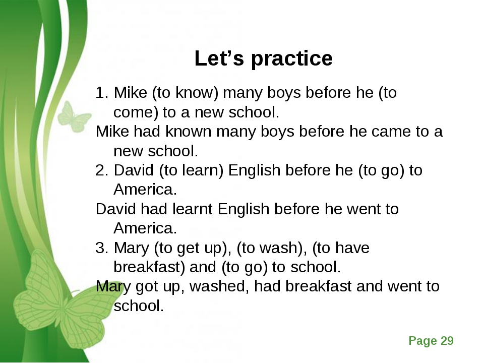 Let's practice Mike (to know) many boys before he (to come) to a new school....