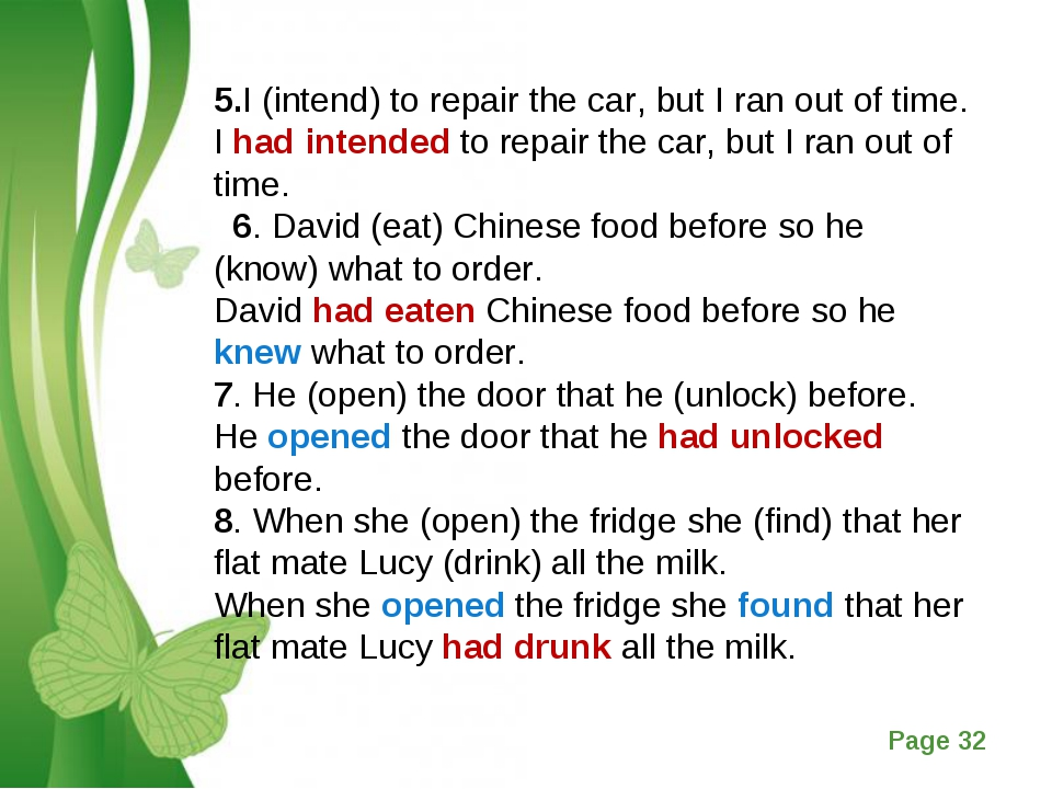 5.I (intend) to repair the car, but I ran out of time. I had intended to repa...