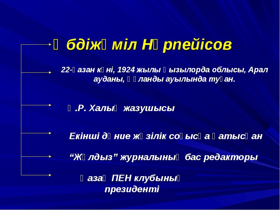 Әбдіжәміл Нұрпейісов 22-қазан күні, 1924 жылы Қызылорда облысы, Арал ауданы,...