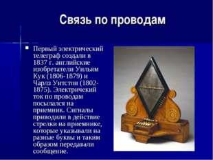 Связь по проводам Первый электричеcкий телеграф создали в 1837 г. английские