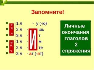 Запомните! 1 л - у (-ю) 2 л - шь 3 л - т 1 л - м 2 л - те 3 л - ат (-ят) Е Д