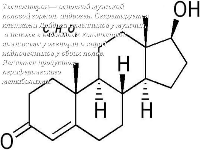 Тестостерон— основной мужской половой гормон, андроген. Секретируется клеткам...