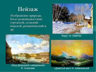 Пейзаж Изображение природы, богат разновидностями: городской, сельский, морск