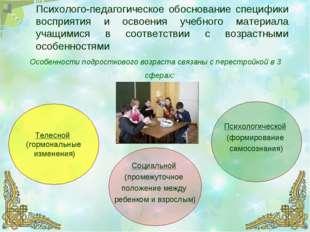 Психолого-педагогическое обоснование специфики восприятия и освоения учебного