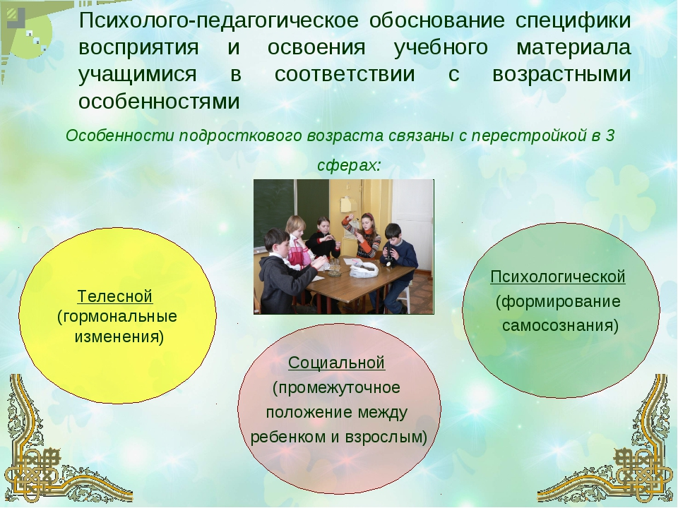 Психолого-педагогическое обоснование специфики восприятия и освоения учебного...