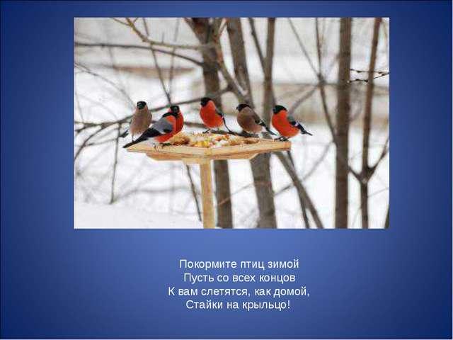Покормите птиц зимой Пусть со всех концов К вам слетятся, как домой, Стайки н...
