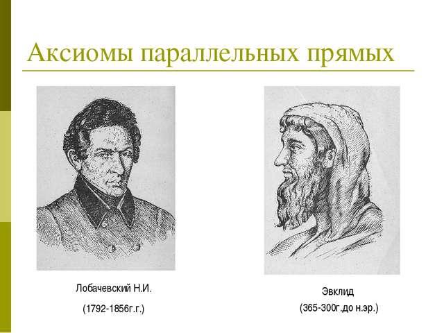 Аксиомы параллельных прямых Лобачевский Н.И. (1792-1856г.г.) Эвклид (365-300г...