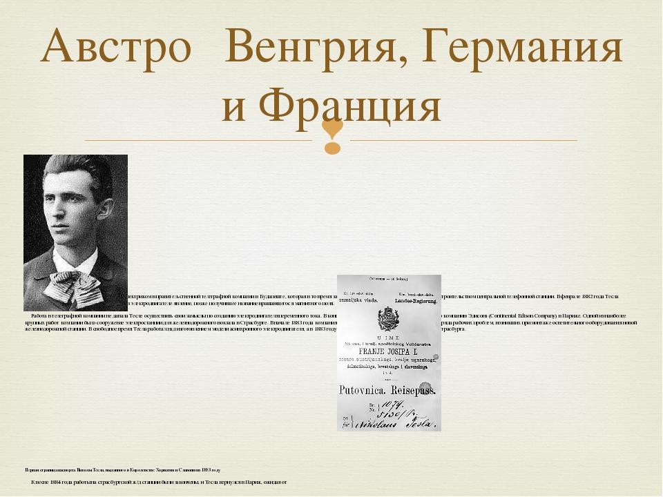 23-летний Никола Тесла До 1882 года Тесла работал инженером-электриком в пра...
